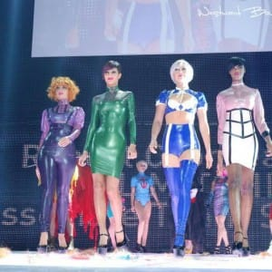 Latex rubber clothing on the fashion catwalk in Zurich, switzerland.