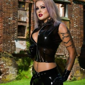 latex top and designer rubber leggings