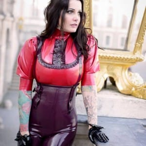 LOVE THIS SHOT BLOXI IN WESTWARD BOUND LATEX CLOTHING'S CIRQUE-BOURGEOIS RUBBER COLLECTION AT THE SCHLOSS NYMPHENBURG PALACE IN MUNICH, GERMANY.