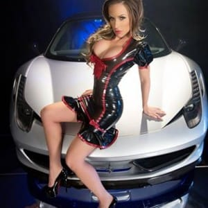 Dulchinea Latex Dress with Christian Louboutin Show and car by Ferrari.