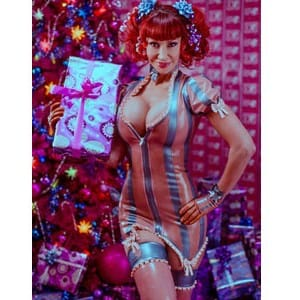 Christmas Gift latex dress by Westward Bound with Bianca Beauchamp.