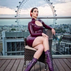 The London Eye and Trixi Latex Dress by Westward Bound Clothing.