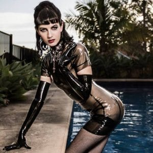 Latex Dress by Westward Bound worn by Australian Burlesque Star Ivy Rose Raven.