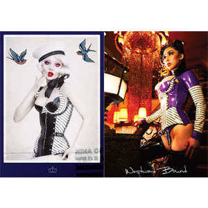 Art postcards with latex corsets by Westward Bound, fashion designers and manufacturers.