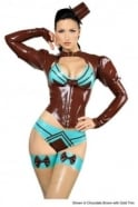 Absinthium Latex Rubber Top with Underbust Corset front.