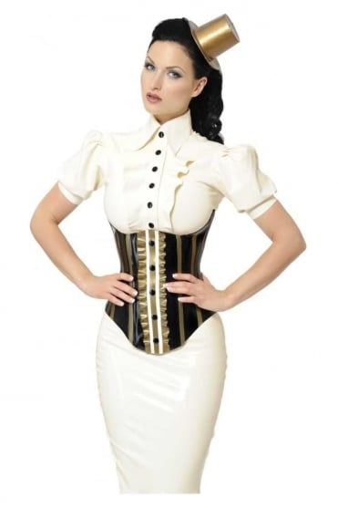 Baroness Brulee Underbust Latex Rubber Corset.