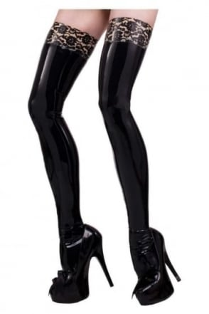 Bordelle-L'Amour Lace Latex Rubber Top Stockings.