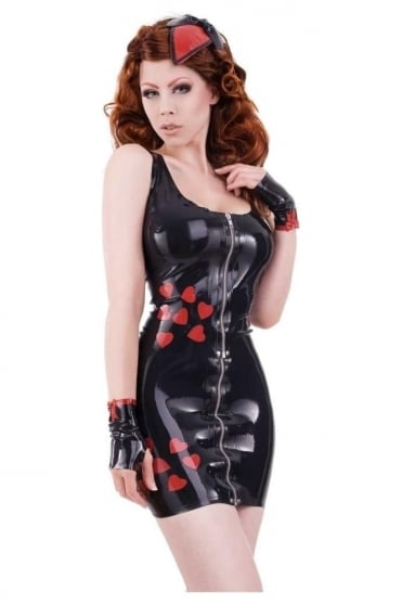Boudoir Love Hearts Latex Rubber Top