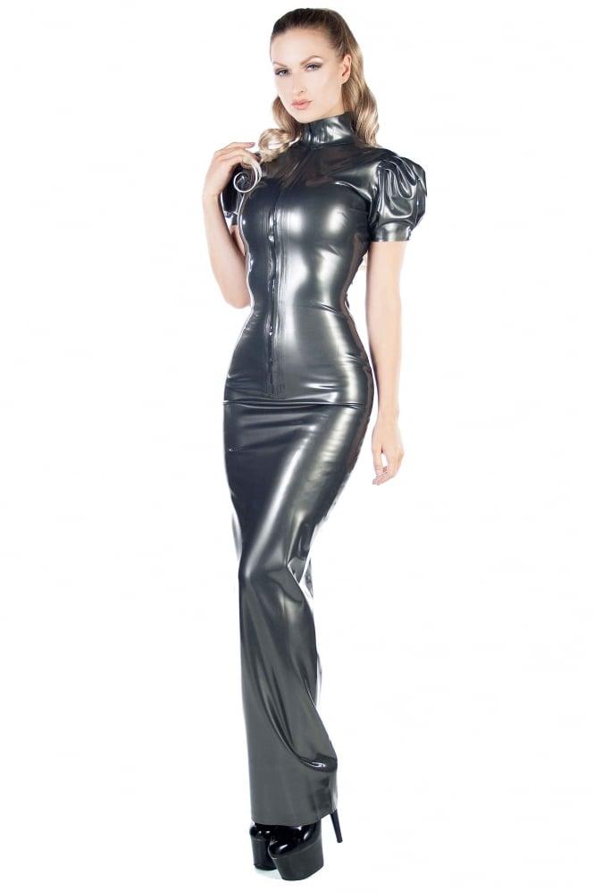 Gothic Goth Police Costume Black Mini Bondage Dress