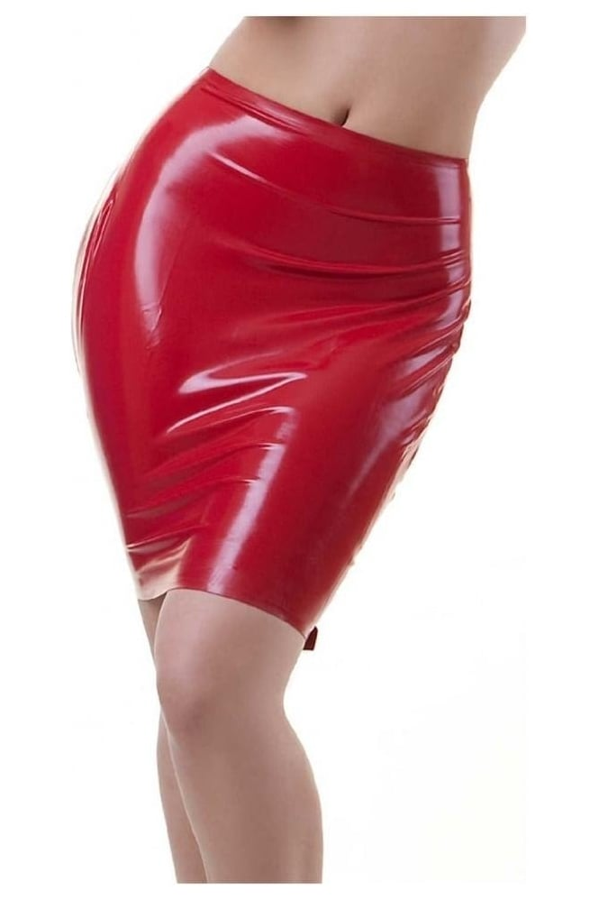 Buckle Back Latex Rubber Skirt.