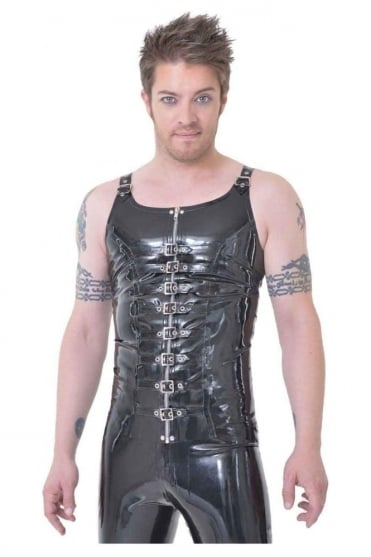 Buckle Latex Rubber Vest Latex Rubber Top.
