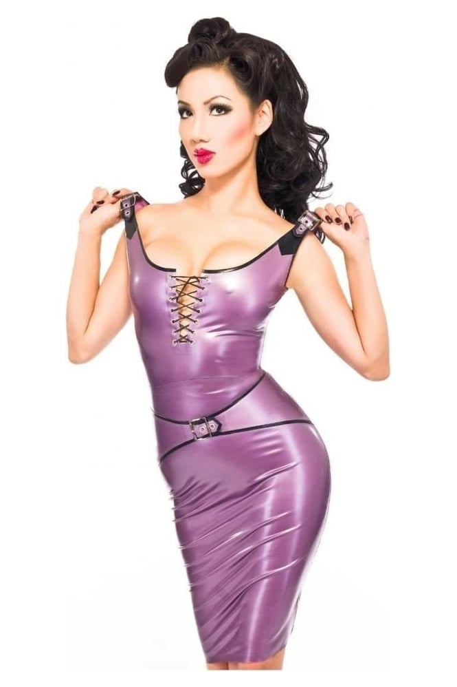 Buckle Pencil Latex Rubber Skirt