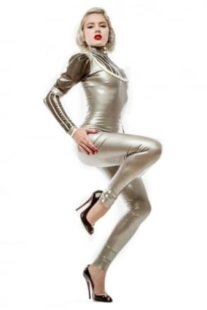 Button Latex Rubber Leggings