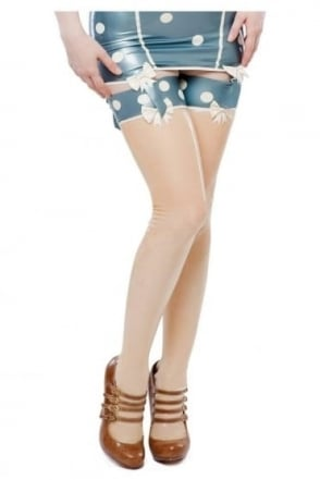 Cirque-Sucre Latex Rubber Stockings with White Polka Dots and Bows.