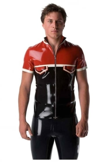 Contrast Polo Latex Rubber Shirt