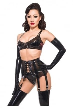 Deep Eight Suspender Latex Rubber Clincher Belt