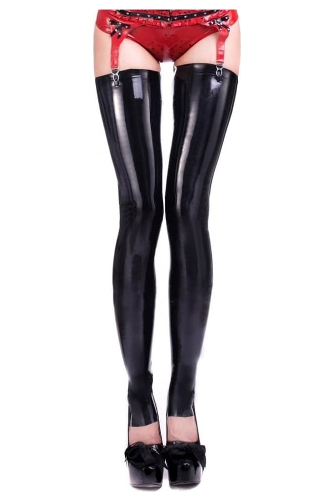 Deluxe Footless Latex Rubber Stockings