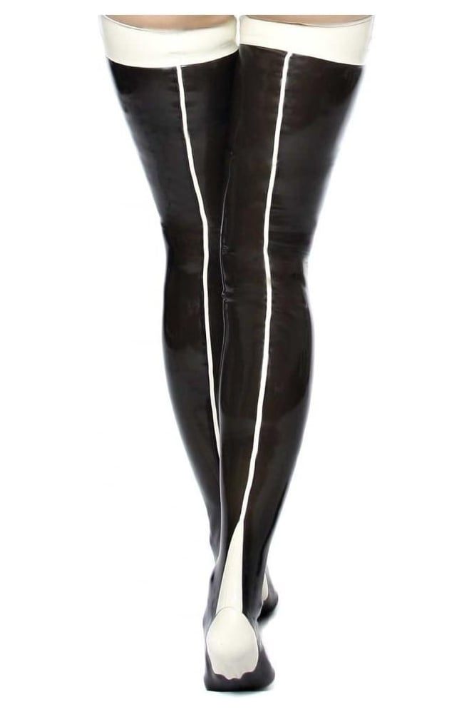 Deluxe Pin Up Seamed Latex Rubber Stockings.