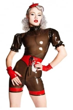 Derriere Latex Rubber Shorts with Lace Front