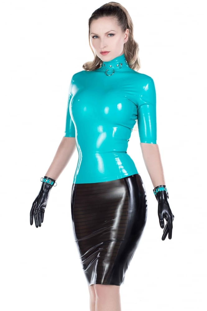 Dom Demure Short Sleeved Latex Rubber Top
