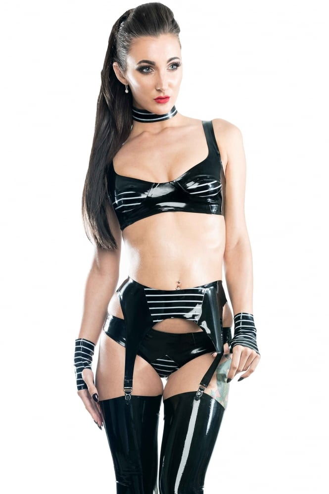 Dom Elegance Peek Latex Rubber Bra