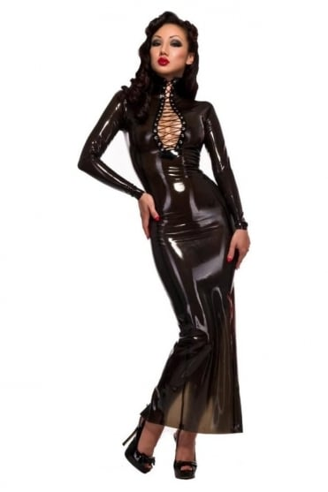Femme Fatale Hobble Latex Rubber Dress.