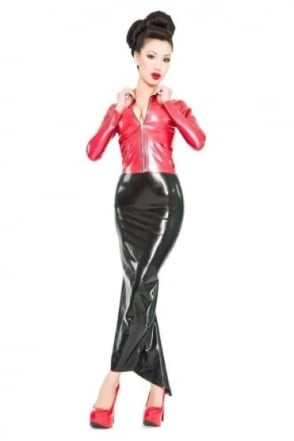 Fishtail Hobble Latex Rubber Skirt.