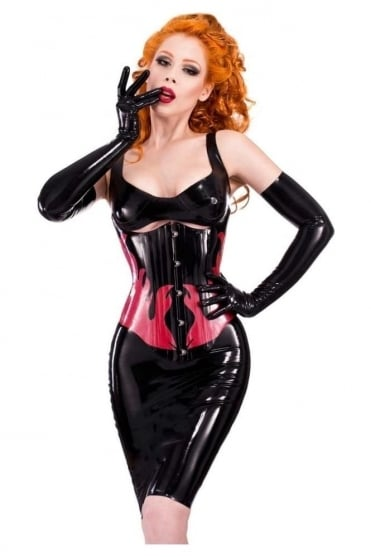 Flame Underbust Latex Rubber Corset.