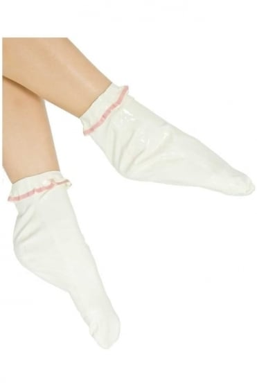 Frill Ankle Latex Rubber Socks.