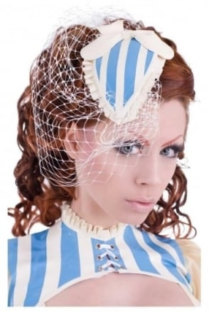 Frilled Bombshell Latex Rubber Fascinator with White Net
