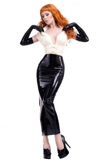 Garbo Hobble Pencil Latex Rubber Skirt.