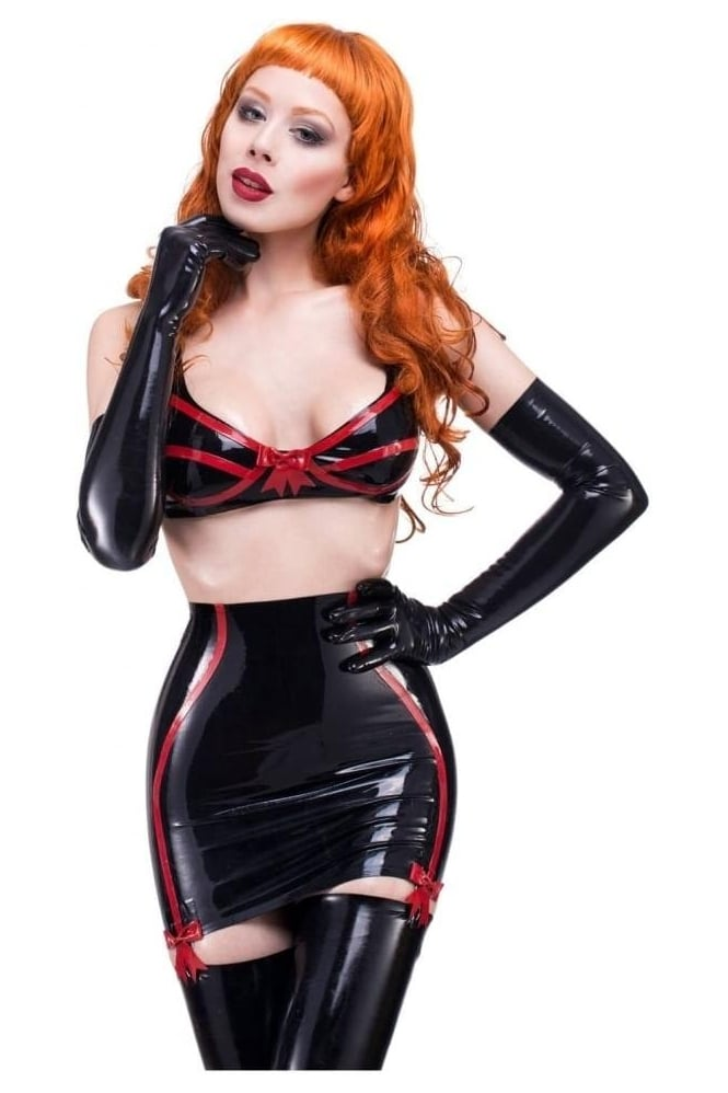 Girly Latex Rubber Clincher Latex Rubber Skirt.