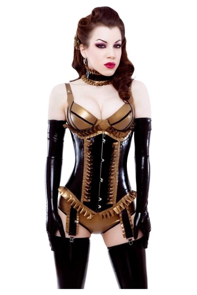 Glamourpuss Underbust Latex Rubber Corset.