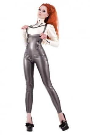 High Waisted Miss-Adventures Latex Rubber Leggings with Braces