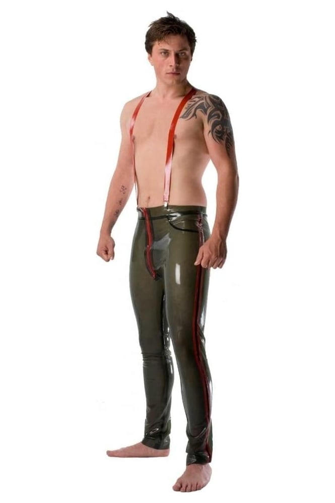 Latex Rubber Trousers with Braces