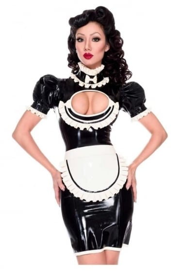 Maid Roleplay Two Piece Latex Rubber Uniform