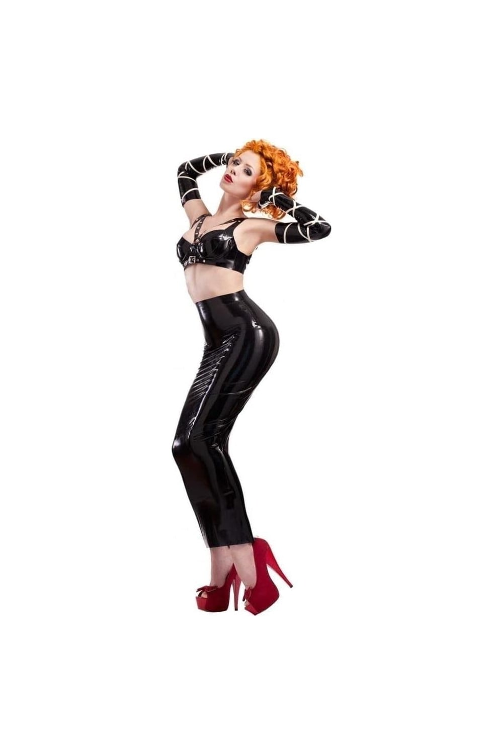 Perfect  Women39s Latex  Skirts Above Knee  Pencil OpenBack Latex Rubber