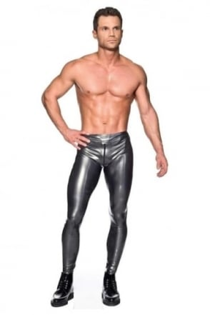 Men's Latex Rubber Leggings with Two Way Zip.