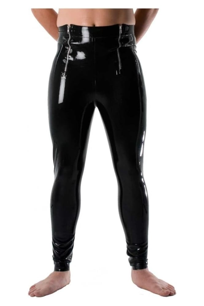 Men's Twin Zip Latex Rubber Leggings
