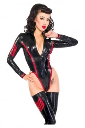 Military Vixen Latex Rubber Leotard.
