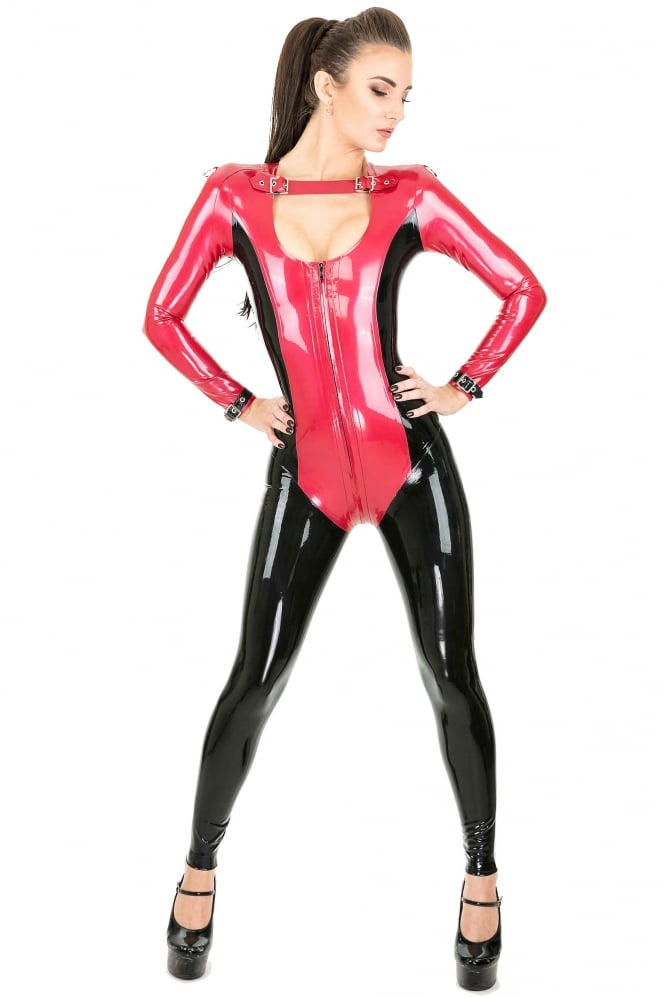 Miss Treatment Buckle Latex Rubber Catsuit