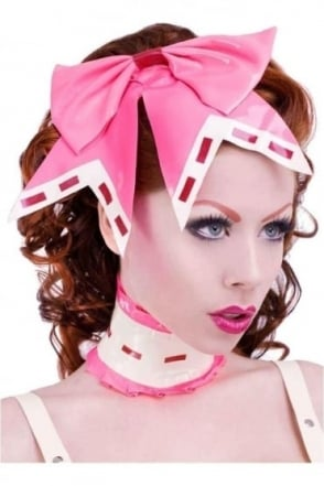 Mon Cheri Latex Rubber Hair Bow. Trim always White with Red.