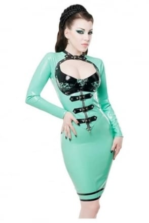 Open Buckle Latex Rubber Top.