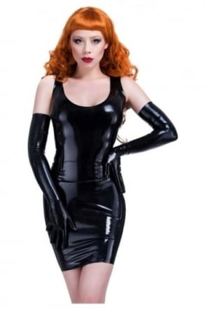 Pencil Open-Back Latex Rubber Skirt.
