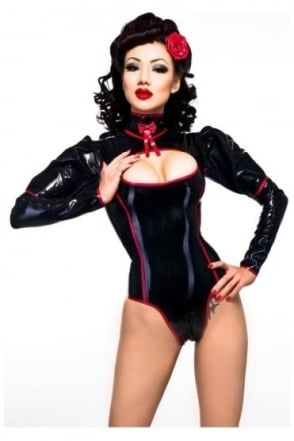 Pin Up Kitti Latex Rubber Leotard.