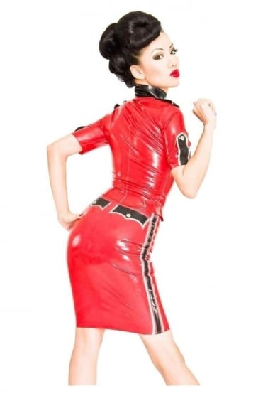 Queeny Military Pencil Latex Rubber Skirt.