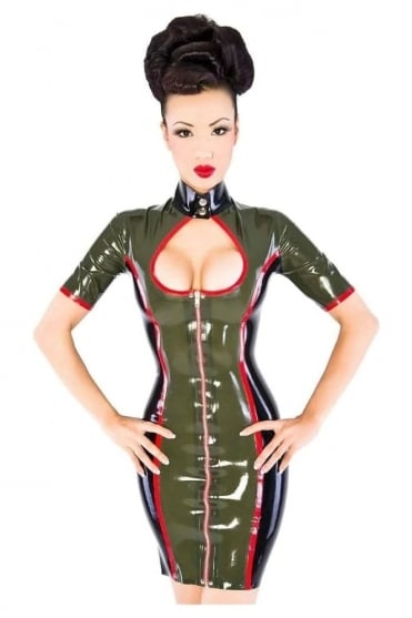Red Label - Bootcamp Uniform Latex Rubber Dress.