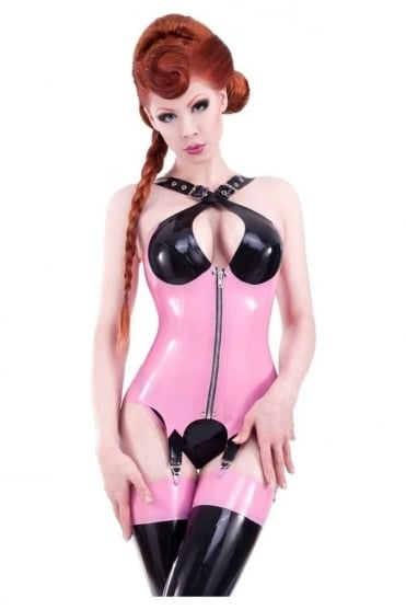 Red Label - Crossover Latex Rubber Corselet.