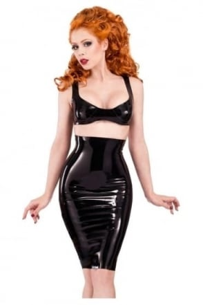 Red Label - High Waisted Pencil Latex Rubber Skirt
