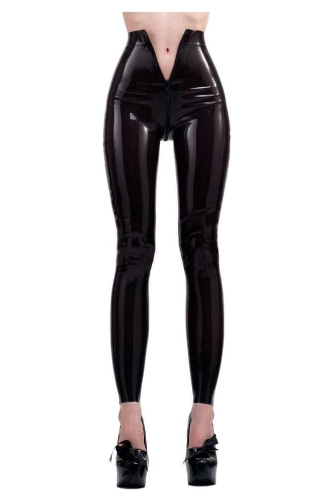 Red Label - Latex Rubber Leggings. Two way zip.